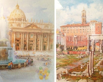 SALE! Two F Neri Italian Landscape Signed Prints - Excellent Condition