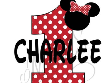 Custom Minnie Mouse Red Yellow Birthday 1st 2nd Birthday Iron On Digital Art Graphic Party