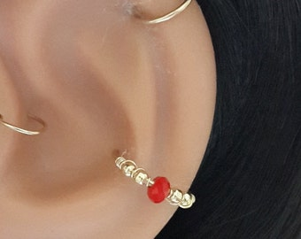 Red Agate conch piercing, gold conch earring, silver conch ring,conch hoop,conch piercing jewelry,18-22 gauge, 12-16mm inner diameter