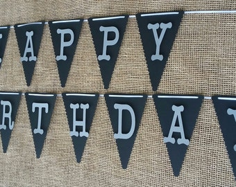 Happy 1st Birthday Banner,Black& Silver Birthday Banner,Boy Birthday Banner, Happy 2nd Birthday Banner,Adult Birthday Banner,Birthday Banner