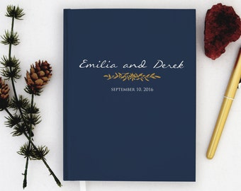 Wedding Guest Book Personalized Navy and Gold Guest Books Custom Guestbook Romantic Fall Wedding Gold Script Wedding - Navy