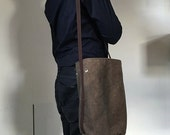 "Simple cross body cotton canvas bucket bag in chocolate with rust lining / modern and minimal / made in nyc - ""Bonnie"""