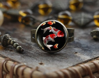 Koi Fish ring, Japanese Koi Fish ring, Japanese art ring, Koi Fish art, Asian Art ring, black ring, Fish Water ring