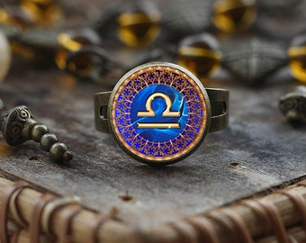 Libra Zodiac ring, Libra ring, Libra Zodiac Jewelry, Libra constellation ring, Libra Zodiac Sign, Astrology ring,