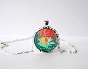 Lotus Blossom Pendant, Om Necklace, Om Charm, Yoga Jewelry, Namaste, Lotus, Meditation, Inspirational, Zen Jewelry, Lotus Flower, Buddhist