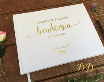 Wedding Guest Book Wedding Guest book White blush cream Real gold foil Silver foil guest book Personalized Custom Wedding Book Landscape