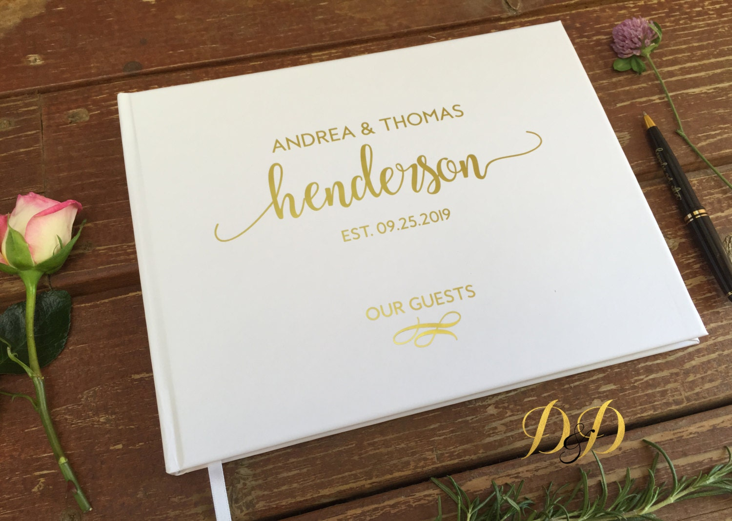 modern guest book wedding books Wedding Guest Book Wedding Guest book White blush cream Real gold foil Silver foil guest book Personalized Custom Wedding Book Landscape
