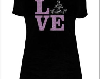 Love Buddha Rhinestone T-Shirt, Love Yoga Rhinestone T Shirt