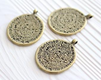 Gold tribal pendant, rustic pendants, boho pendant, spiral pendant, gold round pendant, hammered metal pendant, large gold pendant