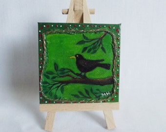 Blackbird Miniature Mixed Media Painting (Complete With Easel) - Birds, Nature, OOAK