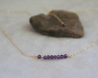 Amethyst Gemstone Bar Necklace. 14K gold filled necklace. Dainty necklace. Handmade jewelry. Gift for her. Layered necklace.