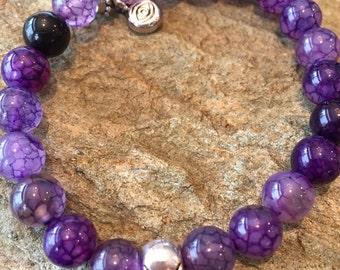 Purple Skull Bracelet, Purple Skull Charm Bracelet, Silver Skull Charm, Third Eye Bracelet, Third Eye Bracelet