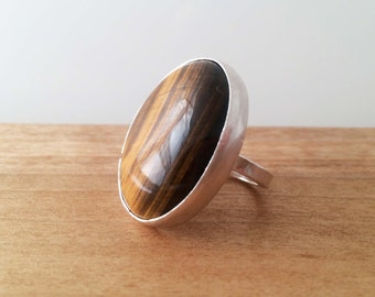 Sterling Silver Tigers Eye Ring size 6.5