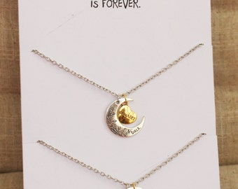 Love between Mother and Daughter is Forever Love you Mom Love You Daughter Two Necklaces Gift Wrapped Fashion Gift Card Necklaces