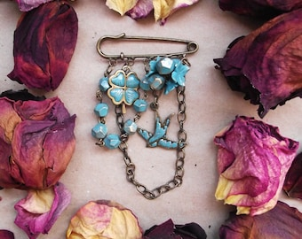 """brooch pin polymer clay """"Turquoise and old gold"""""""