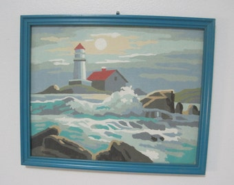 """Seascape with Lighthouse and Keepers House, Paint-By-Number, 8.5"""" x 10.5"""", Vintage"""