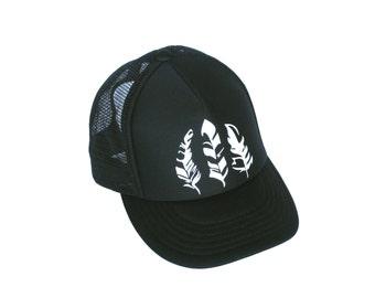 Trucker Hat For Women, Black Baseball Cap, White Feather Desgin, Adjustable Snapback, Beach Accessory, Summer Apparel, Boho Wanderlust Art