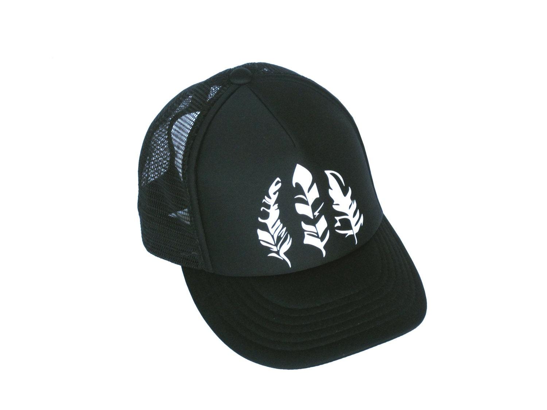 Trucker Hat For Women Black Baseball Cap White Feather