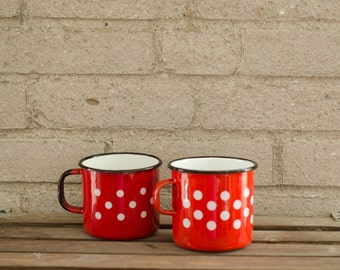 A duo of Vintage  Enamel Polka Dots Mugs