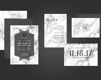 PRINTABLE Modern Wedding Invitation Suite // Marble Invitation Suite // Save the Date // Black and White Wedding // DIY Invitation bundle