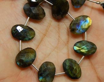 "8""Inches Labradorite Blue Flash Faceted Beads Oval Shape 10x13 To 10x14 mm Approx"