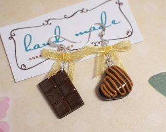 Sweet chocolate earrings Sweet candy earrings Earrings with organza bows Coffee lovers Sweet earrings Tasty earrings