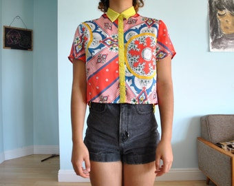 Size small short/crop button up