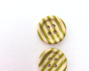 Green Stripe Button with 4 Holes - Small Button - 15 mm Flat Back Buttons - Wooden Buttons - Scrapbook Buttons Embellishment Craft Supplies
