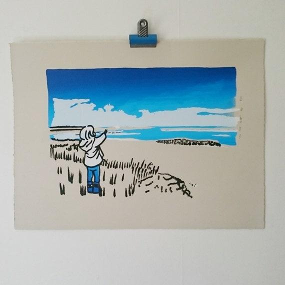 Northumberland Coastal Landscape Beach Seaside Little Blue