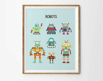 Robot Poster, 8 x 10 in, 11 x 14 in,  17  x 22 in, Robot art, Nursery print, Toddler boy prints, Illustrations for kids, Baby boy prints