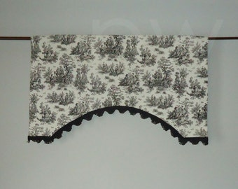 Jamestown Black Toile Window Valance, Lined