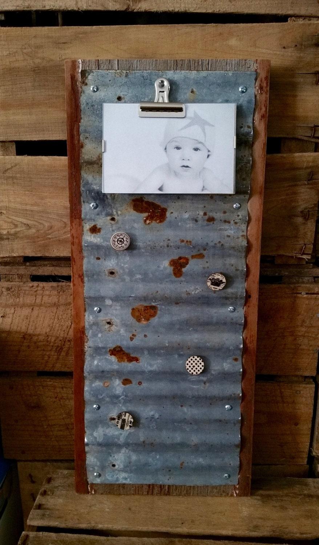 Memo Board Corrugated Metal On Barnwood Rustic