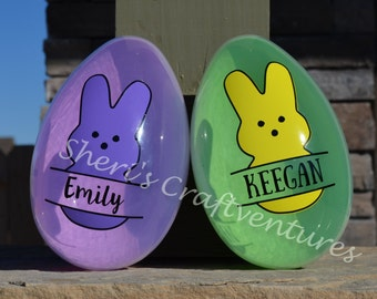 """Personalized Peeps Bunny Egg ONLY ~8"""" tall x 5"""" wide - Split Peep - Peep - Egg Container - Fillable - Reusuable - Green - Gift - Bunny Love"""