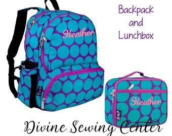 Personalized Aqua Dots Backpack and Lunchbox Set. Monogram Aqua Backpack. Large Dots Lunchbox. Girls backpack. Dots Backpack. Bookbag. 124