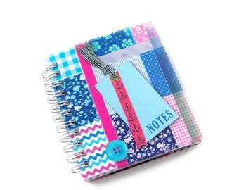 Mini notebook spiral bound, glitters, note book, note pad, mini journal, tabs, plastic cover, patchwork