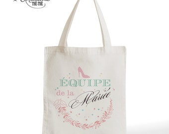 Tote Bag team of the bride, wedding, romantic gift, typography, statement, quote