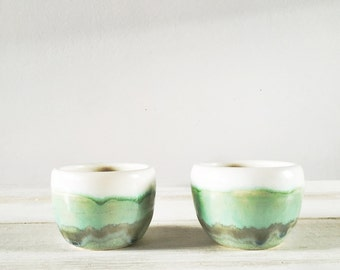 Sake Cups - Set of 2 - White and Green Sake Cups - Handmade Pottery - Shot Glass - Espresso Cup