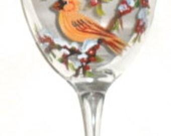 Cardinal Wine Glass, cardinal art, cardinal wine glasses,  Maine art, cardinal glass, winter cardinals on a sturdy 10.5 oz wine glass