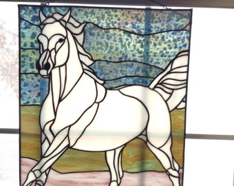 White stained glass horse