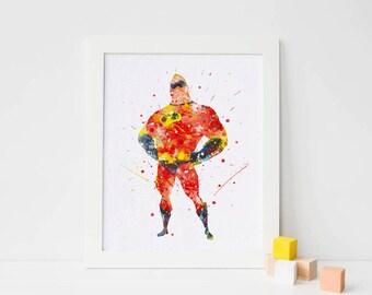 Mr Incredible Poster The Incredibles Watercolor disney Incredibles print Incredible wall art nursery Incredibles nursery poster boy room art