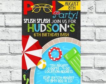 Pool Party Birthday Invitation | Swimming Boy 1st Birthday Invite | splish splash  | DIGITAL FILE - PRINTABLE