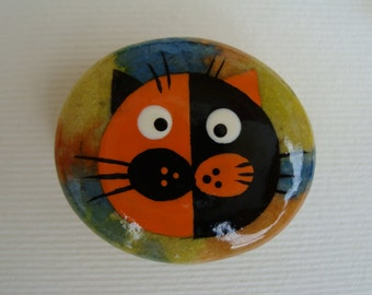 Stone magnets-hand painted stones-tortie cat-cat stones-collectibles-cat magnets magnets-gift for cat loverts