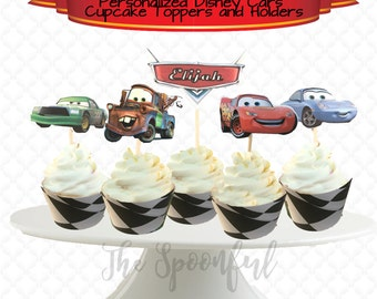 Disney Cars Personalized Double Sided Cupcake Toppers and Matching Holders, Cars Cupcake Toppers, Disney Cupcake Toppers, Party Toppers