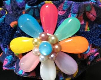 Flowered Fabric cuff Bracelet