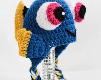 Baby Dory Crochet Hat Pattern pdf instant digital download Finding Nemo Finding Dory Blue Tang Disney Pixar