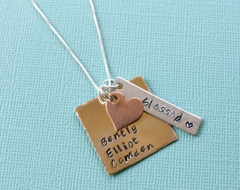 Mothers Necklace Grandmother Necklace Grandma Jewelry Childrens Names Necklace Mixed Metal Necklace