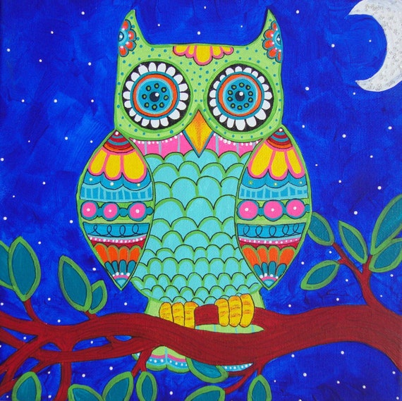 Pastel colored owl painting whimsical bird art funky home for Night owl paint color