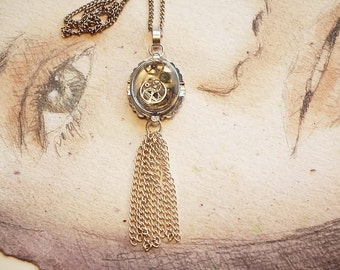 Steampunk Necklace-Pendant  gears in resin, chain pompon, chain, wrist watchcase
