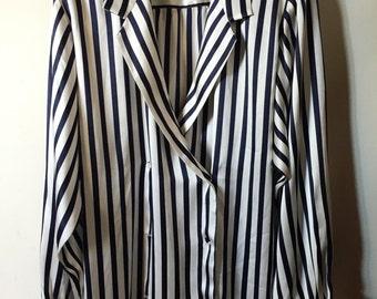Striped Blouse shape blazer T38