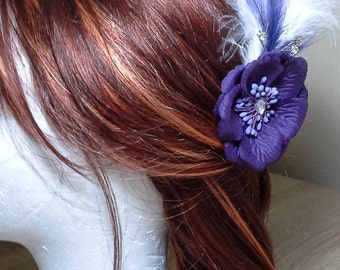 Unique Handmade Purple flower and Feather Fascinator hair clip.